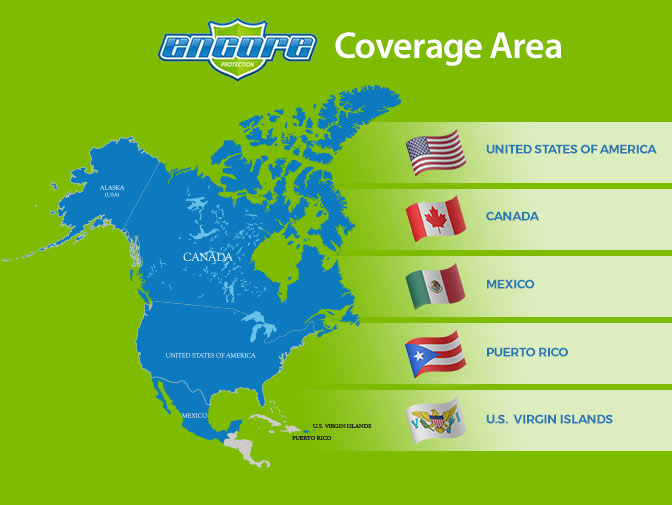 Encore Protection Roadside Assistance Coverage Area