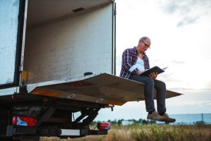 truck driver passing the time with journal entries