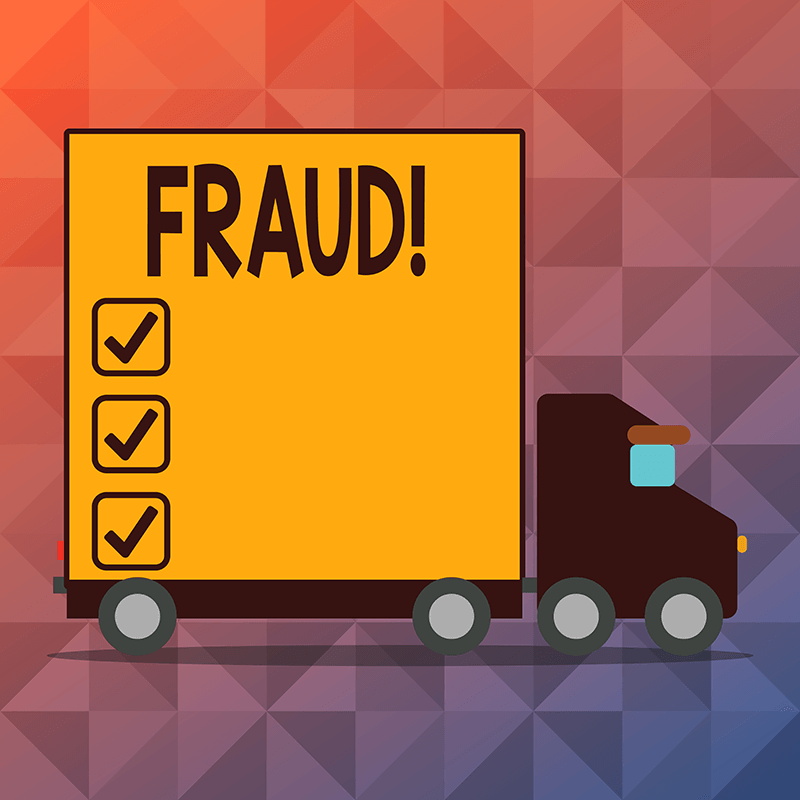 box truck with fraud written on cargo side
